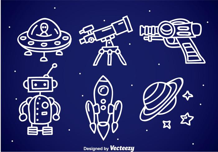 Space Fantasy Doodle Icons vector