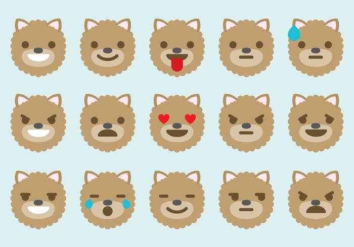 Pomeranian Dog Emoticon Vectors