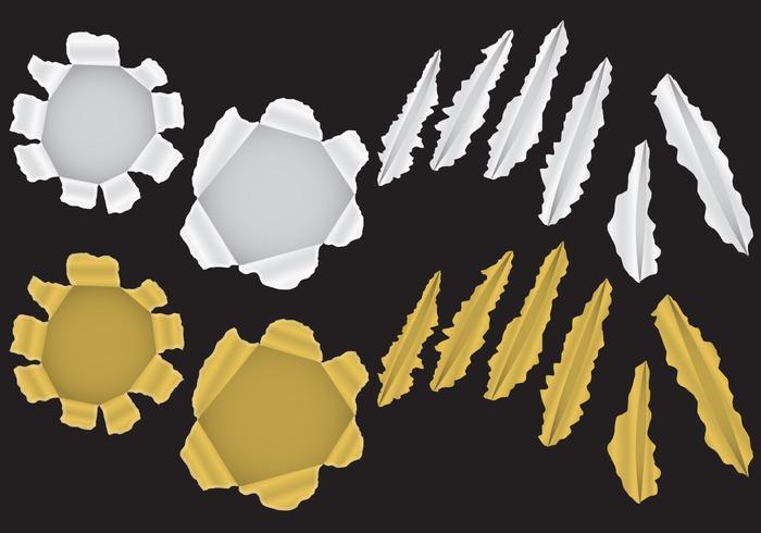Gouden En Zilveren Metalen Scheurvectoren