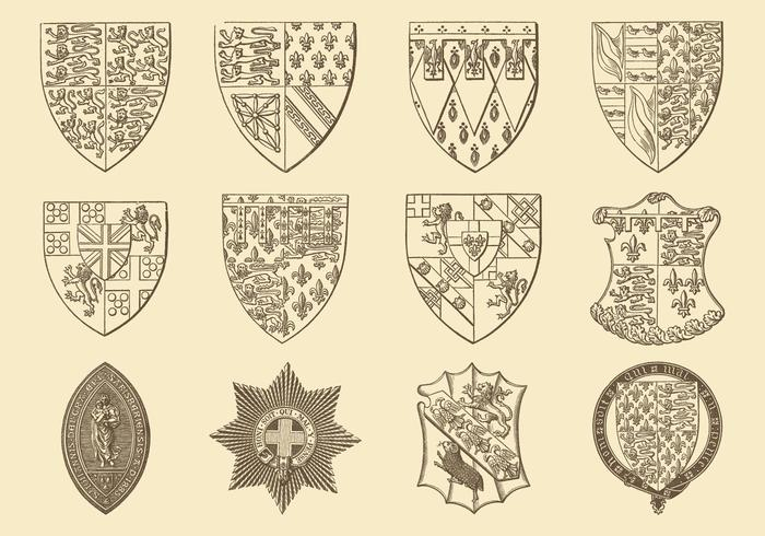 Old Style Drawing Heraldic And Emblem Vectors