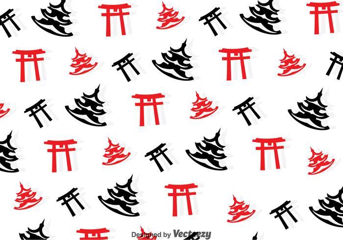 Toruu Gate And Temple Seamless Pattern