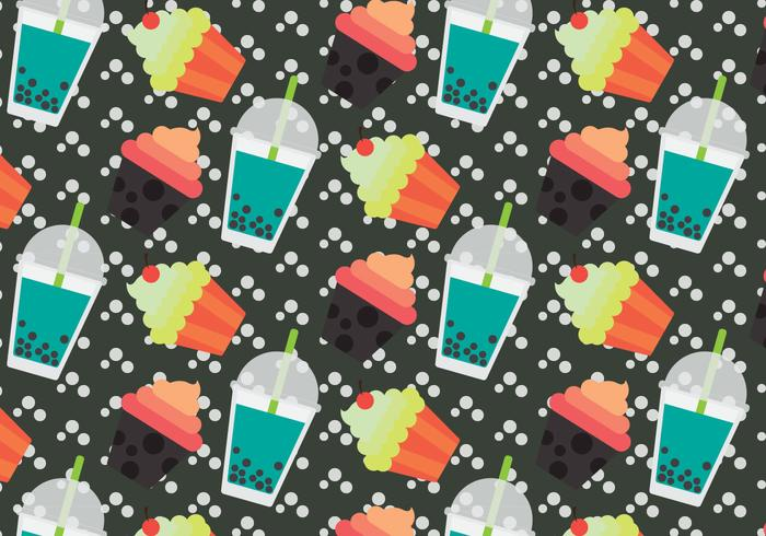 Free Bubble Tea Vector Pattern #2