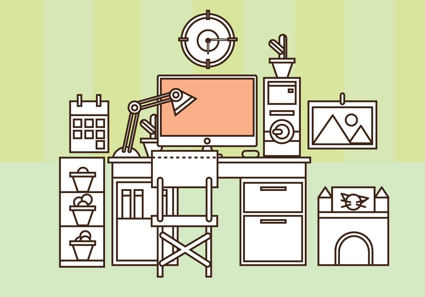 Free Home Office Vector Set Up Download Free Vector Art