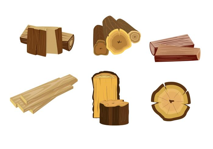 Isolated Wood Logs Vector