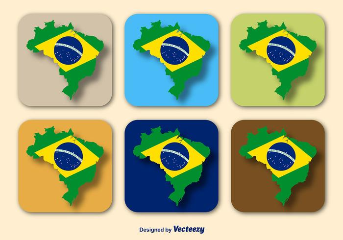 Brazil Flag and Map Vectors