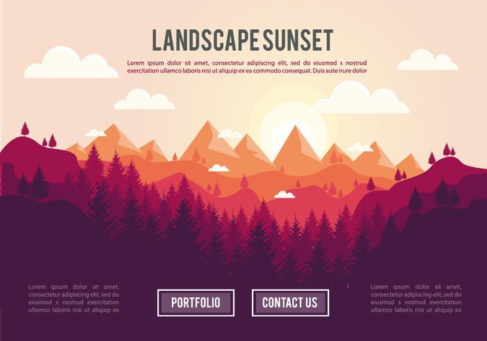 Puesta del sol del paisaje ilustración vectorial de fondo vector