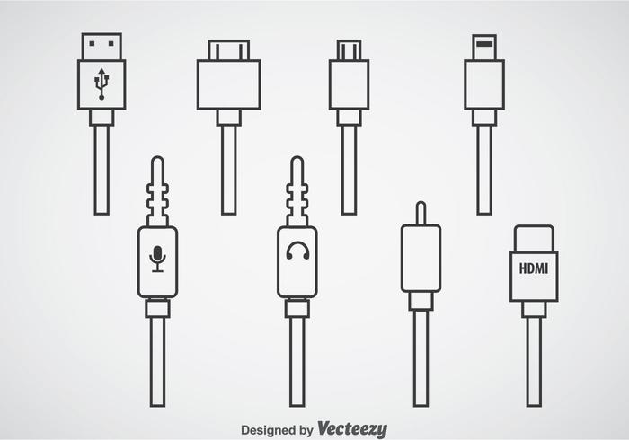 Plug cable cable computer icons vector