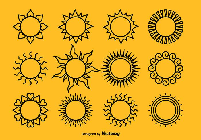 Black Suns Icon Vectors