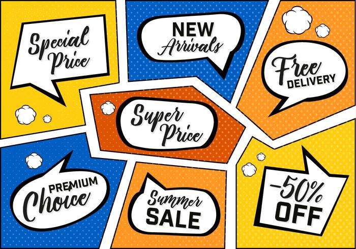 Free Comic Book Sale Vector Background