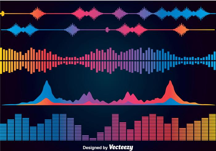 Colorful Sound Bars Icons Vector Sets
