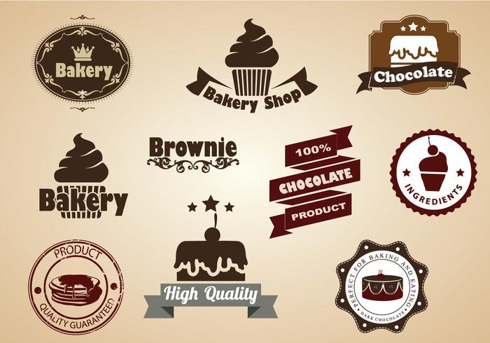 Brownie and Dessert Badges Vector Set