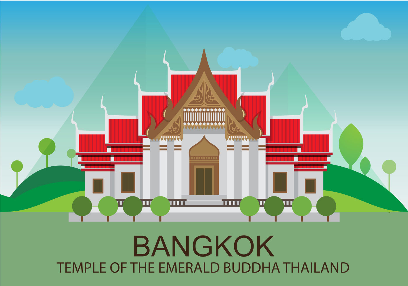 Vector Cartoon For Free Download About 5 514 Vector: Temple In Bangkok Illustration