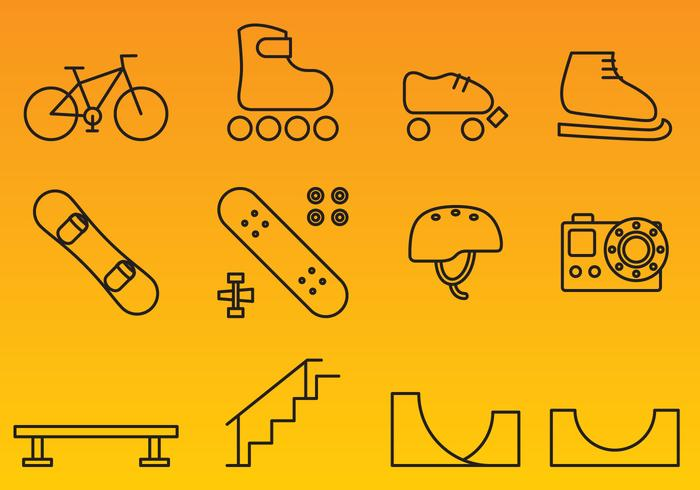 X Games Line Icon Vectors