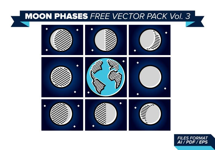 Moon Phases Free Vector Pack 3