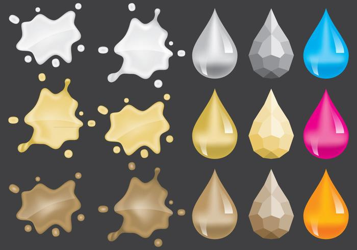 Metalen Splats en Gem Vectors