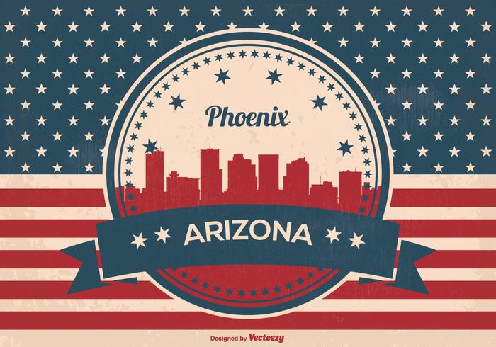 Rétro style phoenix arizona skyline illustration