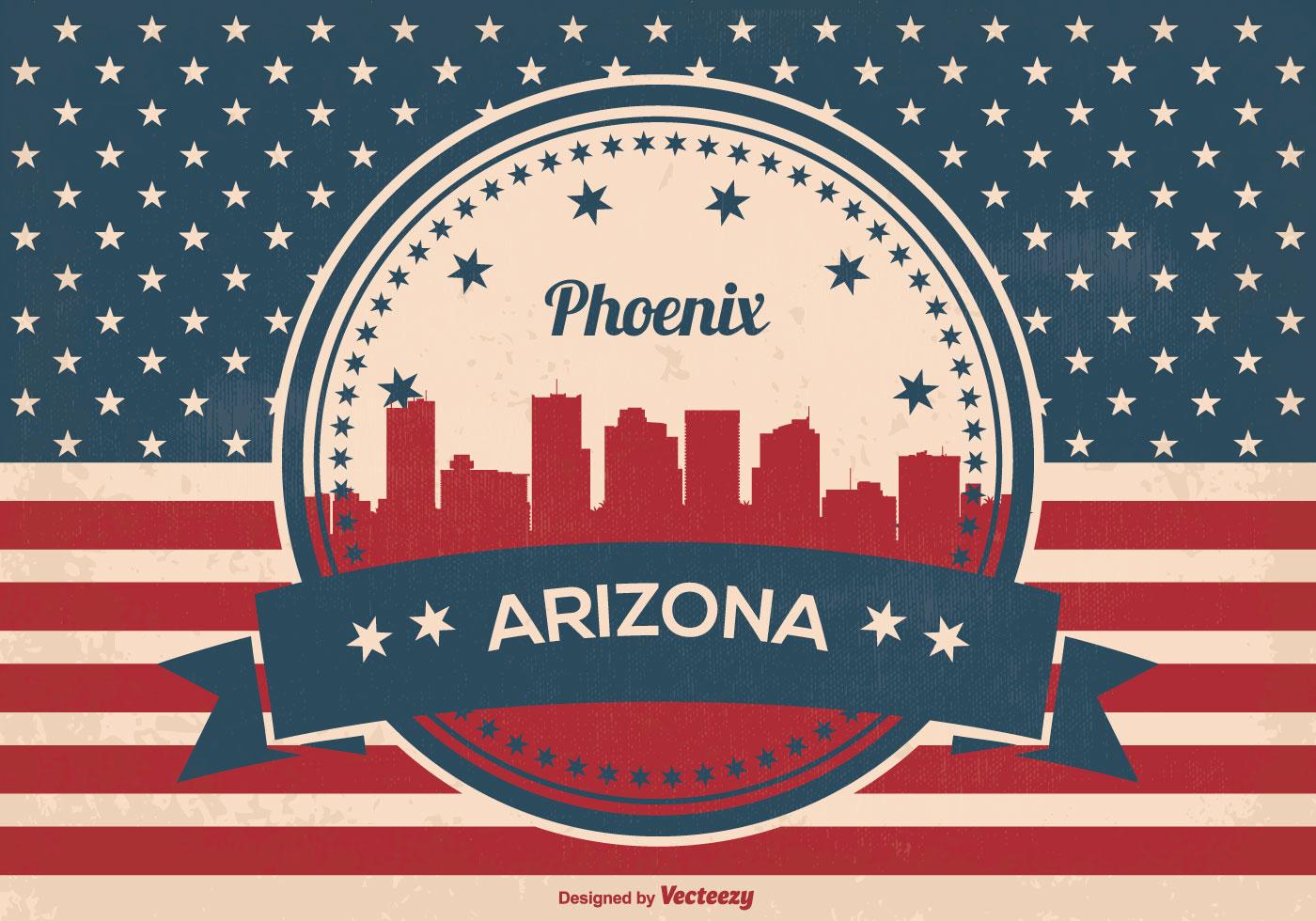 Retro Style Phoenix Arizona Skyline Illustration