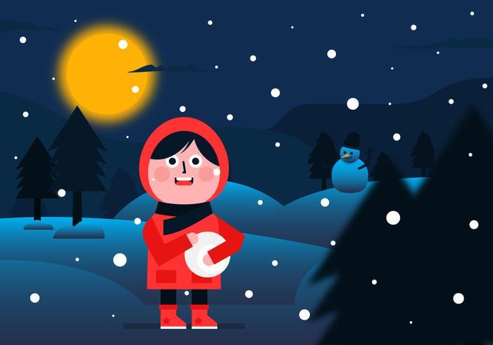 Vector Invierno Noche de fondo