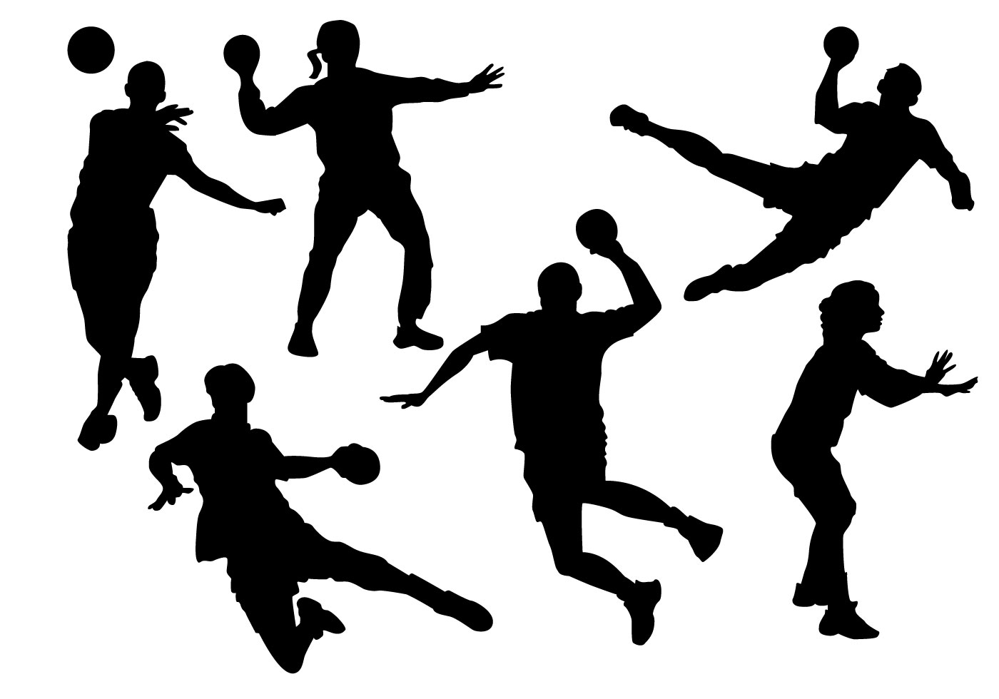 Free Handball Players Silhouette Vector - Download Free ...