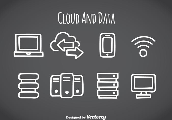 Cloud- und Datenelement-Icons