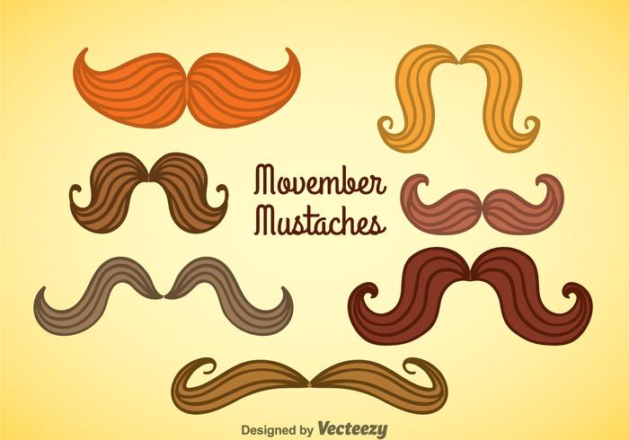 Movember Mustaches Collection Vector