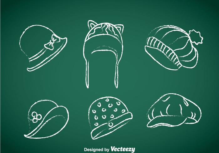 Damen-Hüte Kreide gezeichneter Vektor