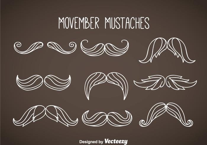 Movember Mustaches White Vector