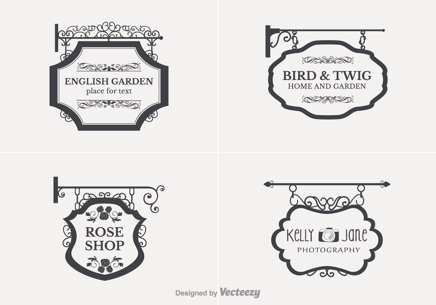 Free retro hanging nameplate vector download free vector for Classic house name plates