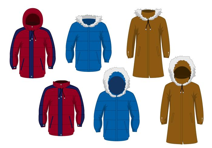 Winterjacke Vektor Set