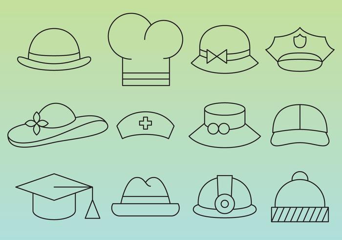 Hut Linie Icons