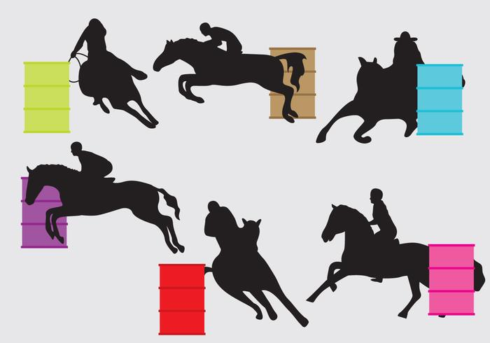 barrel racing silhouettes set of barrel racing silhouettes for your ...