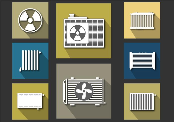 Radiator Icon Flat Vector Set