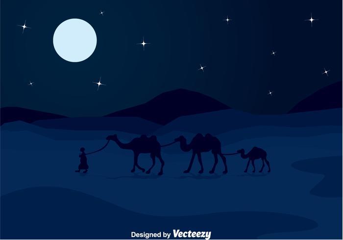 Arabian Night Dessert Landscape Background