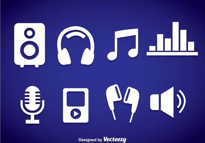 Music Element White Icons vector