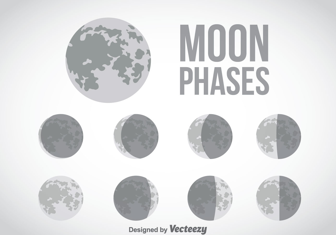 Moon Phase Icon Set Download Free Vector Art Stock Graphics Images Phases Of The Diagram For Kids Gray Icons