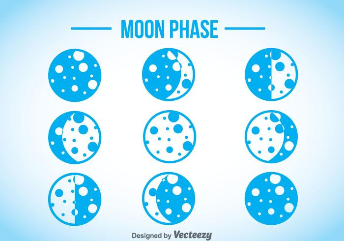 Moon Phase Blue Icons
