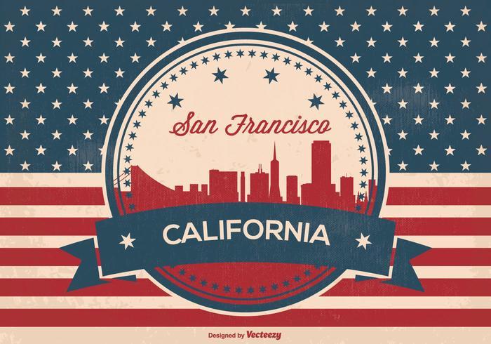 Ilustración retro del horizonte de San Francisco del estilo
