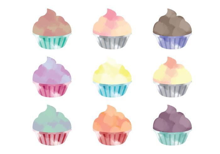 Vector Watercolor Cupcakes