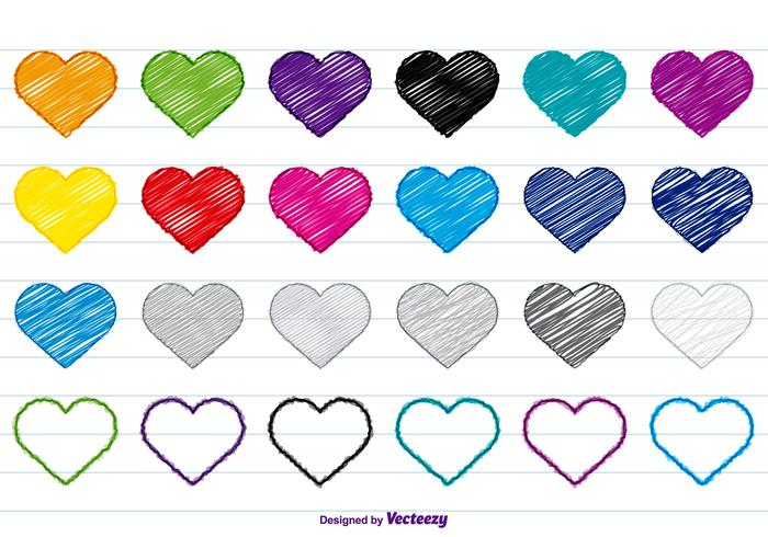 Colorful Scribble Hearts Set
