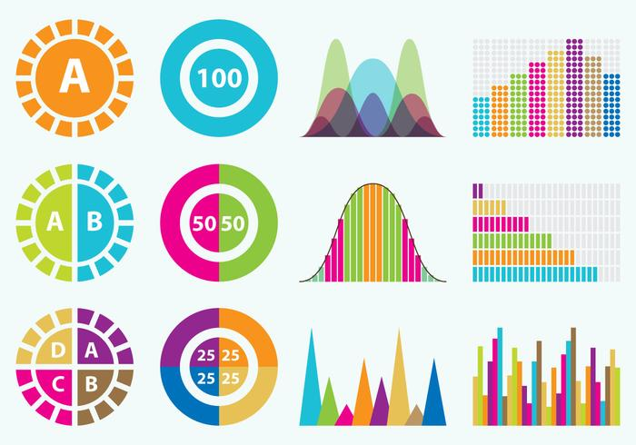Colorful Statistics Icons vector