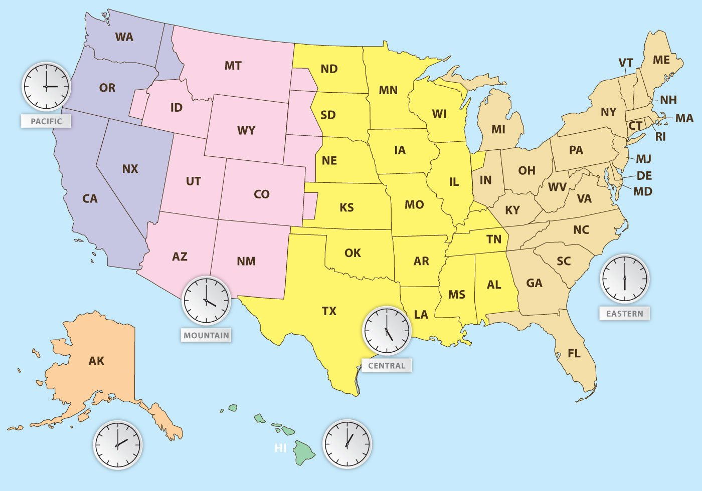 Time Zones Of US Map - Download Free Vector Art, Stock Graphics & Images