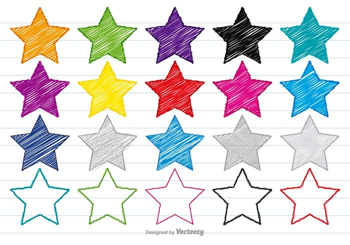Colorful Scribble Style Star Set
