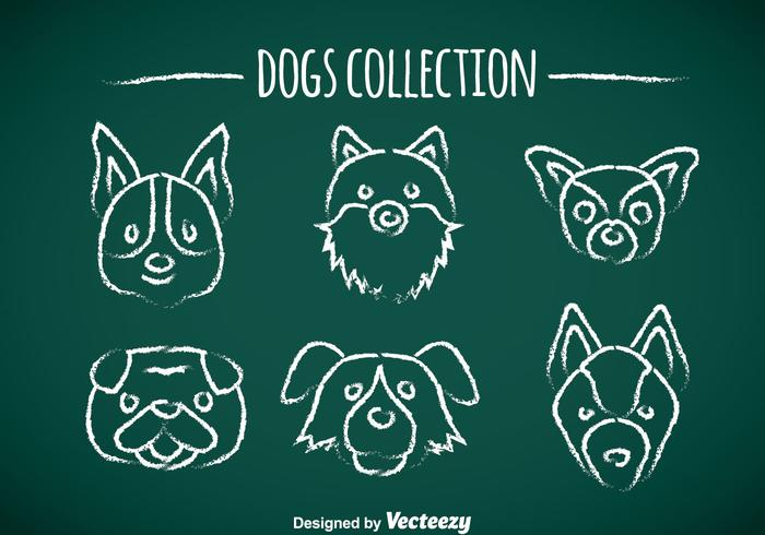Dogs Chalk Draw Icons vector