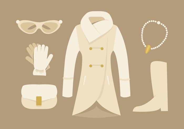 Elegant Womens Coat and Accessories Vectors