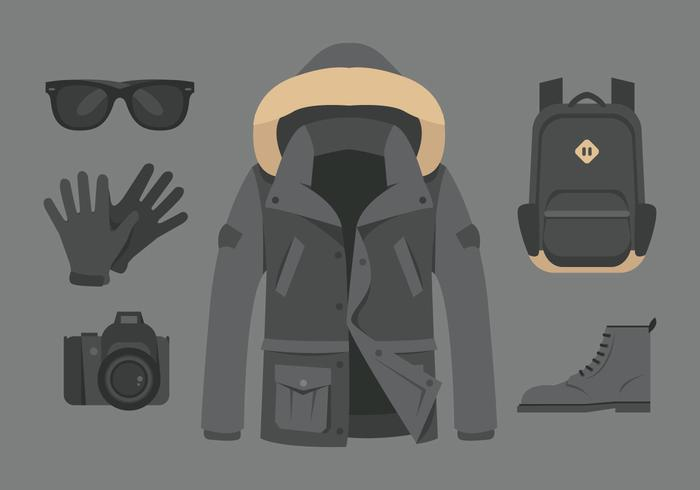 Vector Gray Raincoat and Accessories