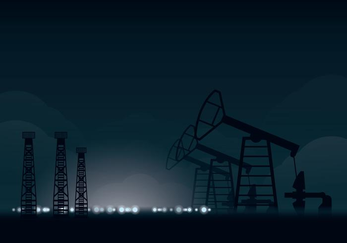 Ölfeld Nacht Illustration