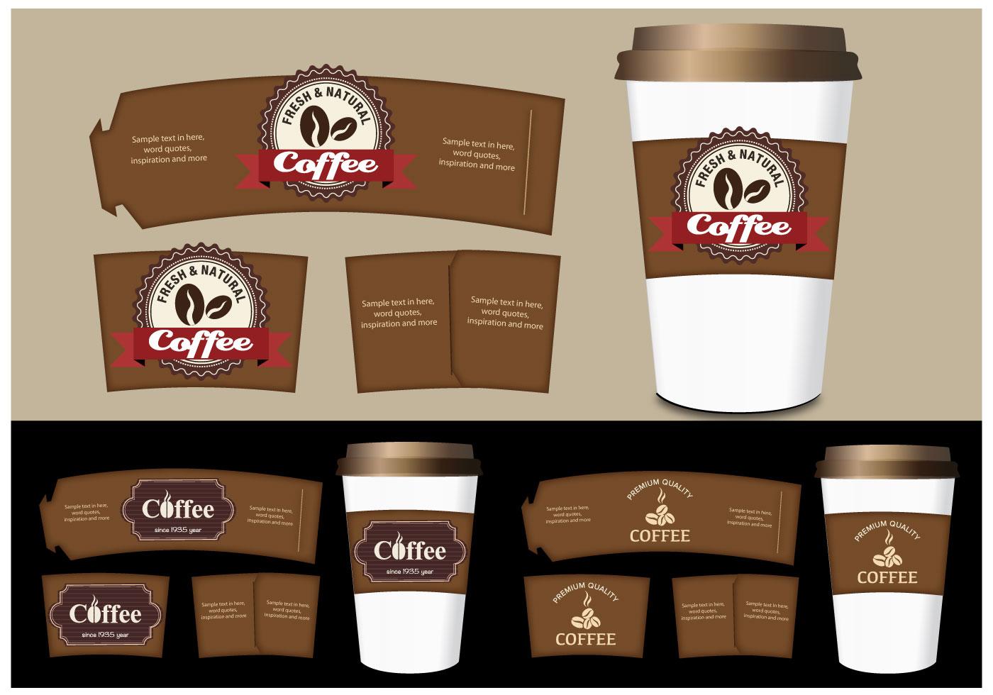 Coffee Sleeve Templates Vector Set