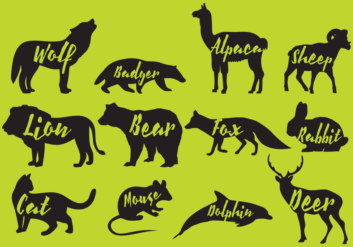 Mammals Silhouettes Wi...