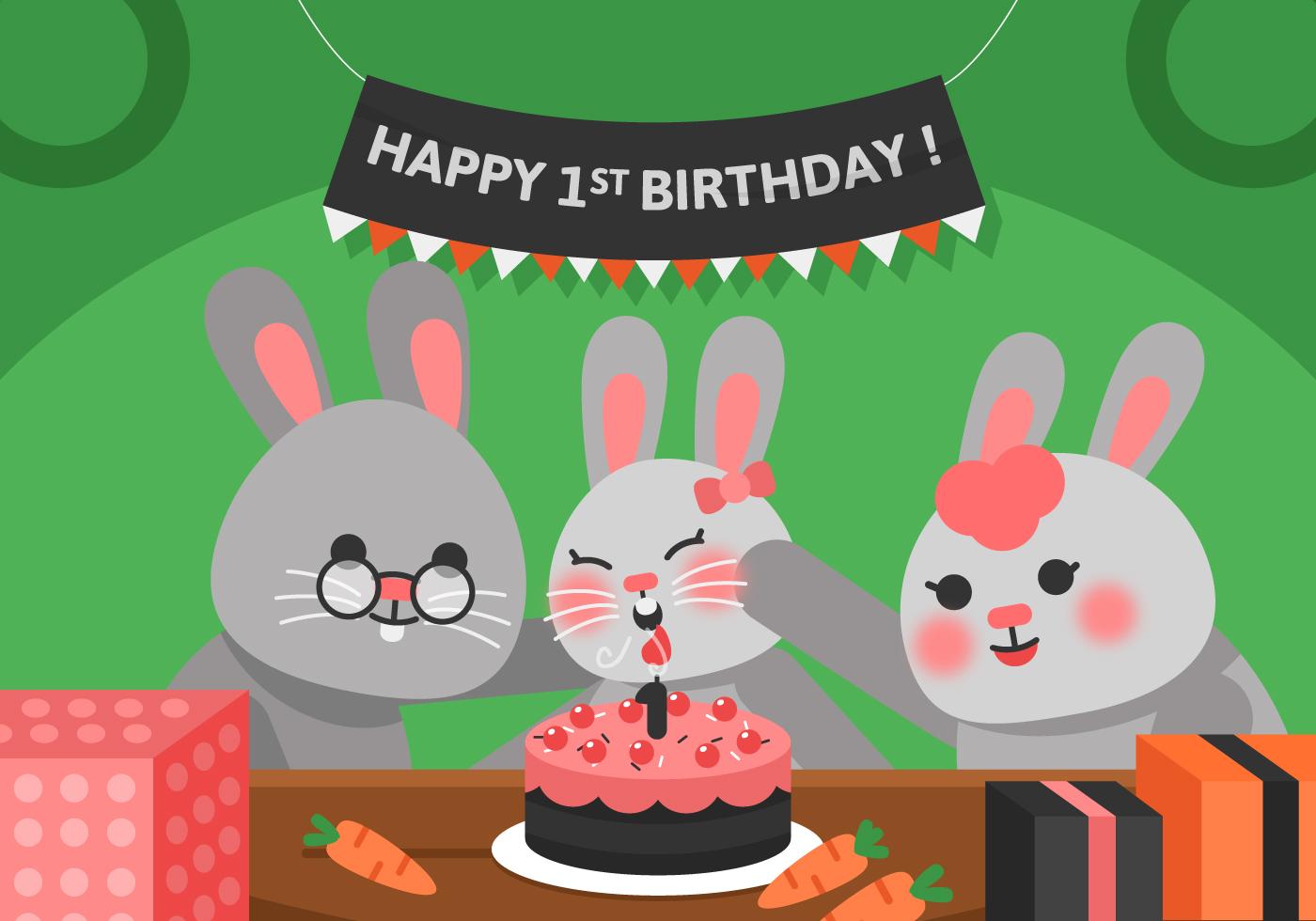 vector first birthday rabbit