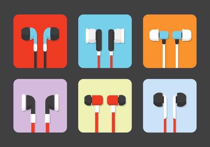 Vecteurs écouteurs isolés